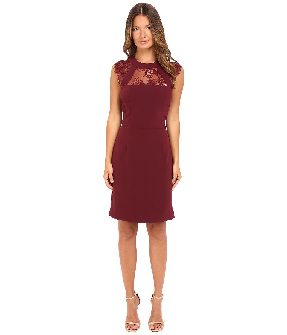 The Kooples - Crepe Back Satin Lacing Cap Sleeve Dress (Red) Women's Dress