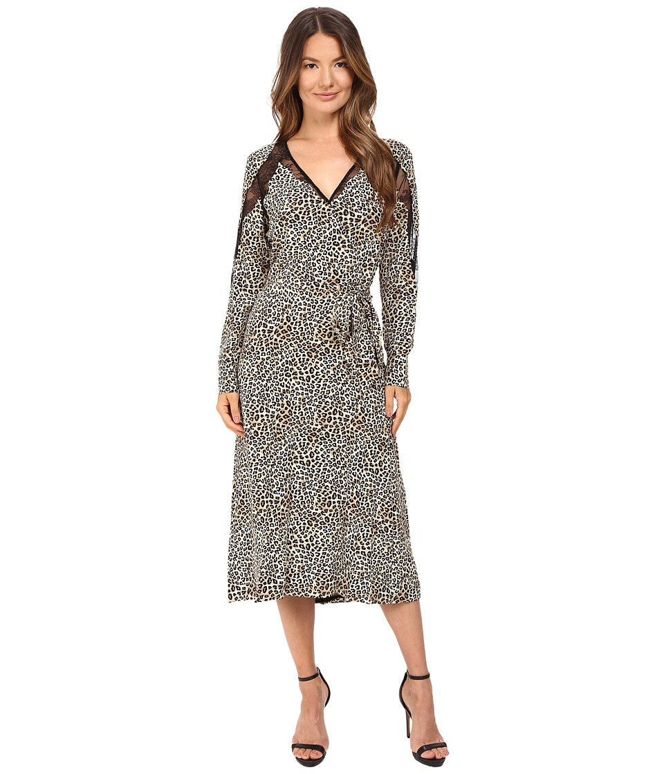 The Kooples Wild Leo On Silk Crepe De Chine Lace Dress