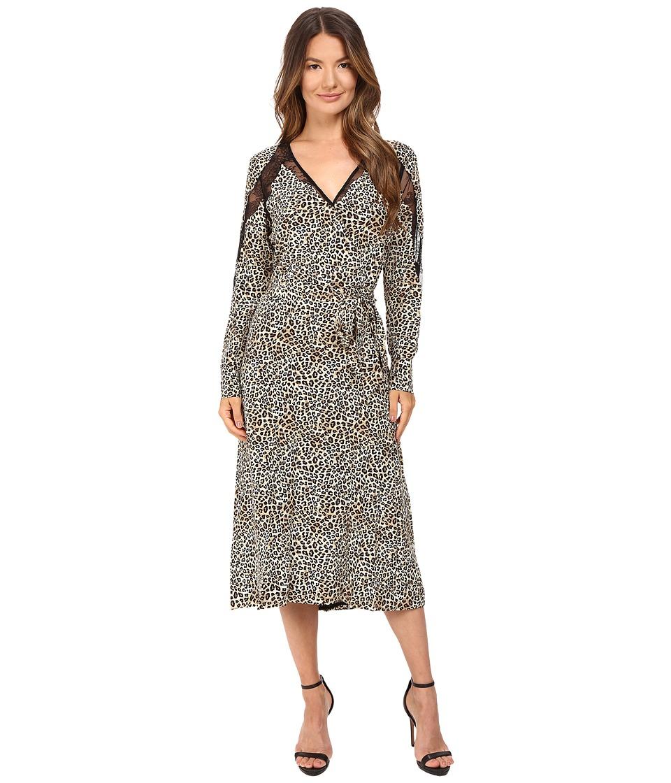The Kooples Wild Leo On Silk Crepe De Chine Lace Dress (Leo) Women
