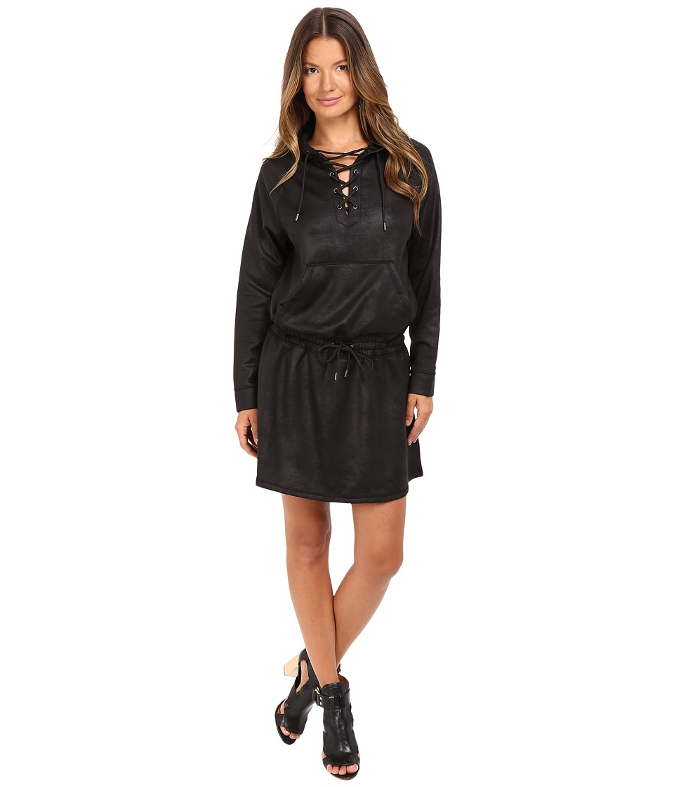 The Kooples - Leather Effect Dress (Black) Women's Dress