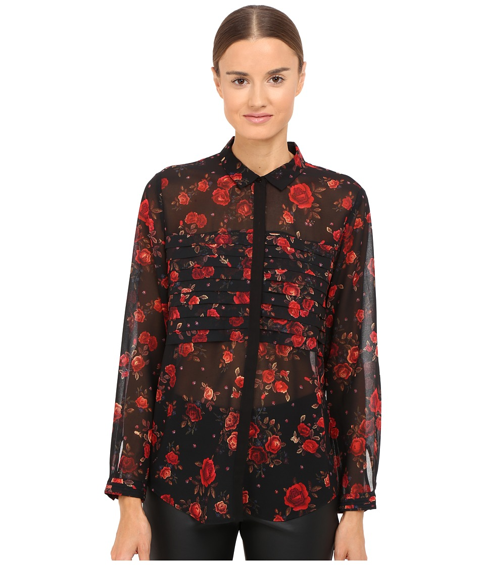 The Kooples - Romantic Flowers On Chiffon (Black) Women's Long Sleeve Button Up
