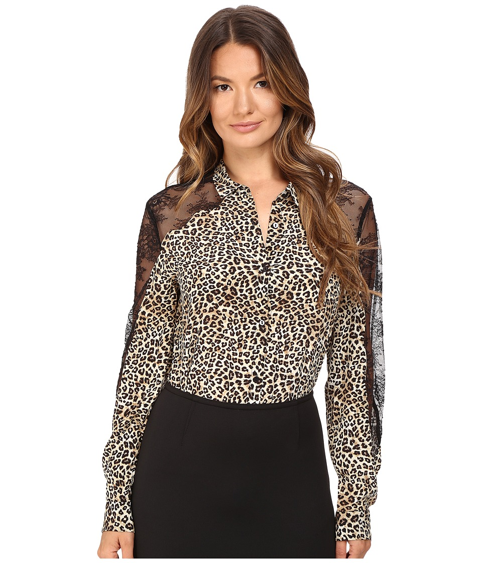 The Kooples - Wild Leo On Silk Crepe De Chine Lace Blouse (Leo) Women's Blouse