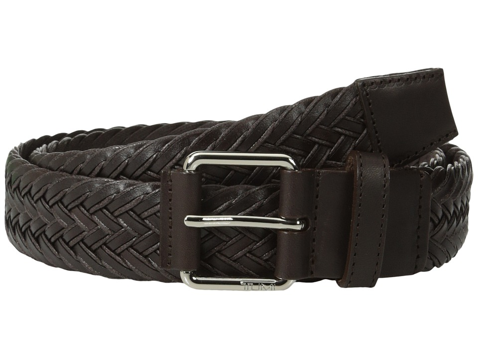 Tumi - Leather Braided Belt (Nickel Satin/Brown) Men's Belts