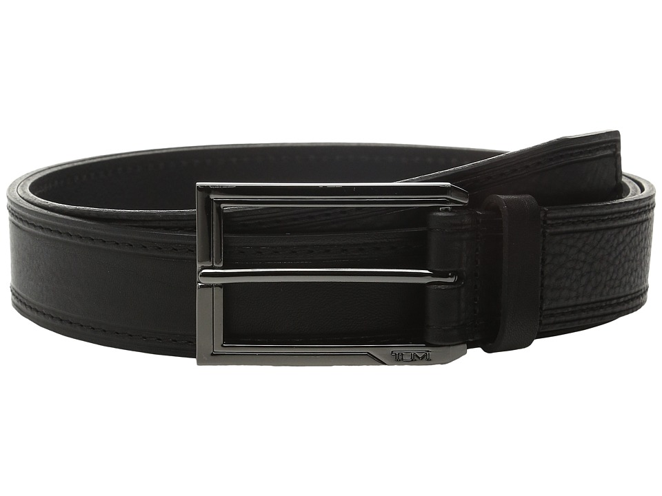 Tumi - Stitched Pebbled Belt (Gunmetal/Black) Men's Belts