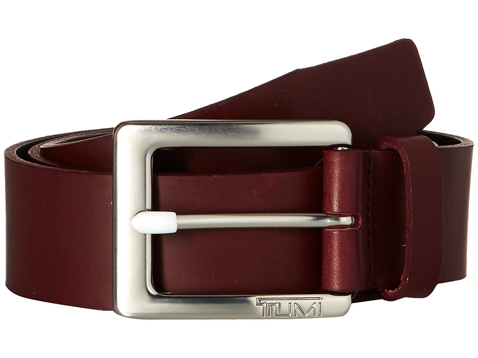 Tumi - Casual Leather Belt (Nickel Satin/Burgundy) Men's Belts