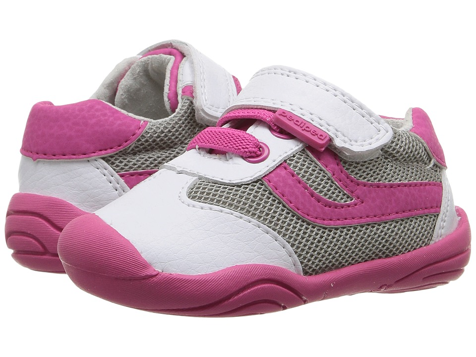 pediped - Cliff Grip n Go (Toddler) (White/Fuchsia) Girl's Shoes