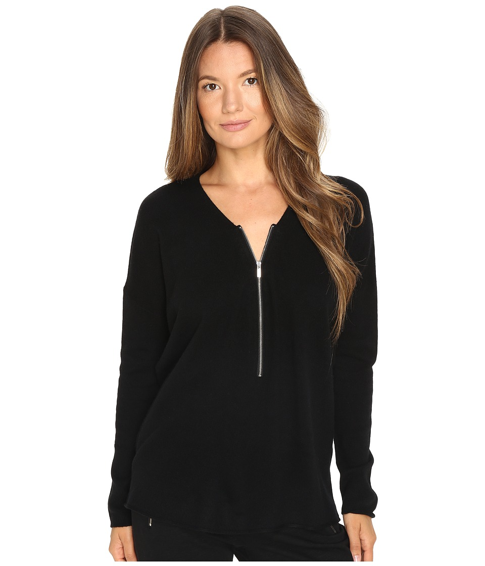 The Kooples Sweater with a Zip Neckline in Wool and Cashmere (Black) Women