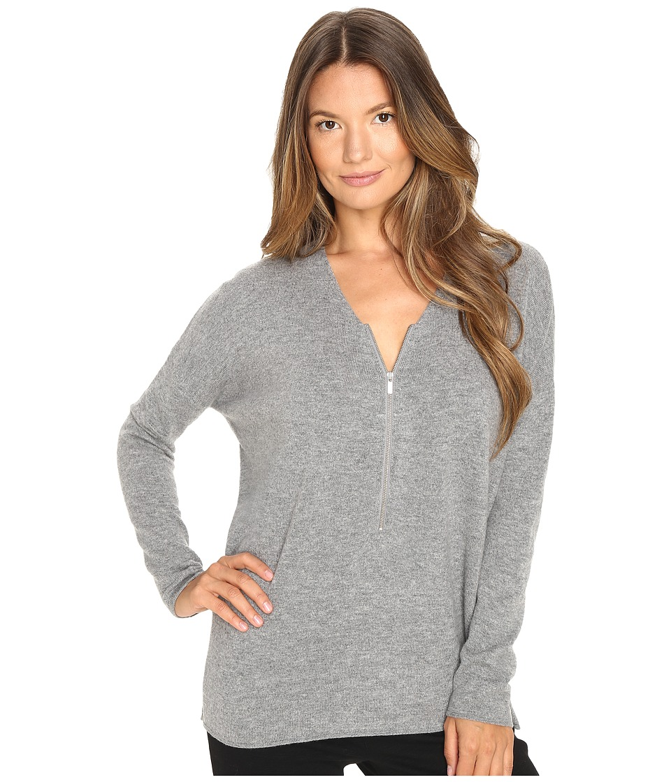 The Kooples - Sweater with a Zip Neckline in Wool and Cashmere (Grey) Women's Sweater