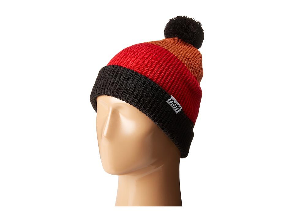Neff - Snappy Beanie (Black/Red/Orange) Beanies