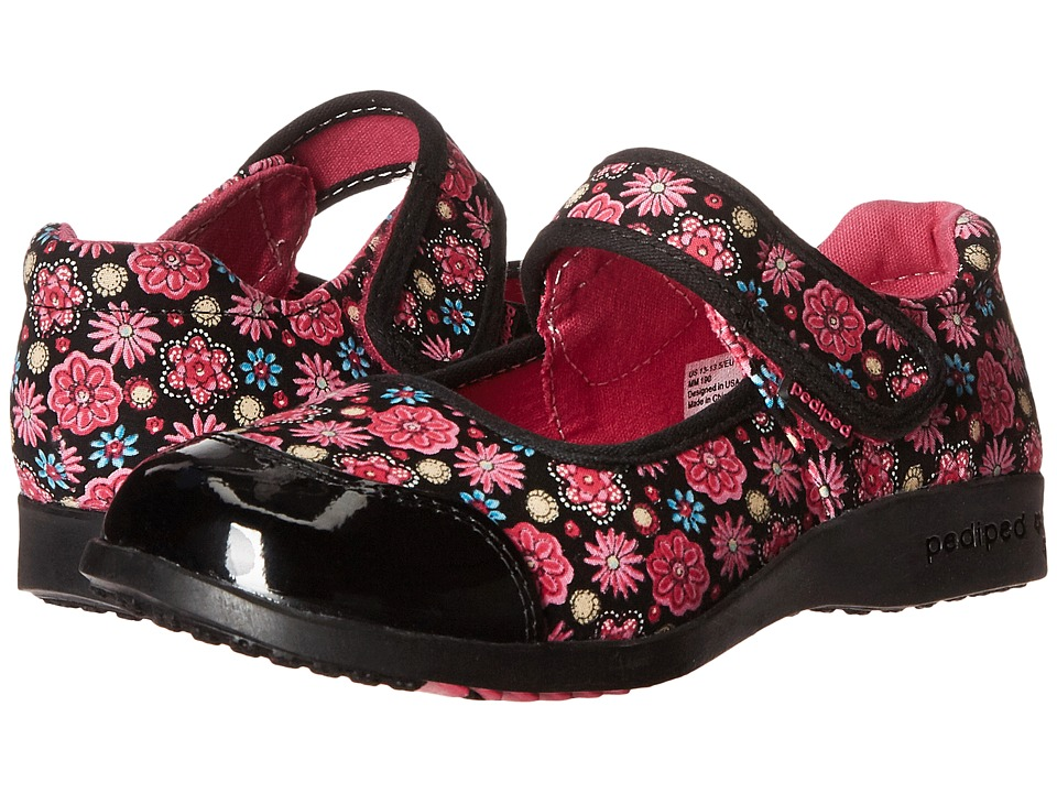 pediped - Becky Flex (Toddler/Little Kid) (Black Floral) Girl's Shoes
