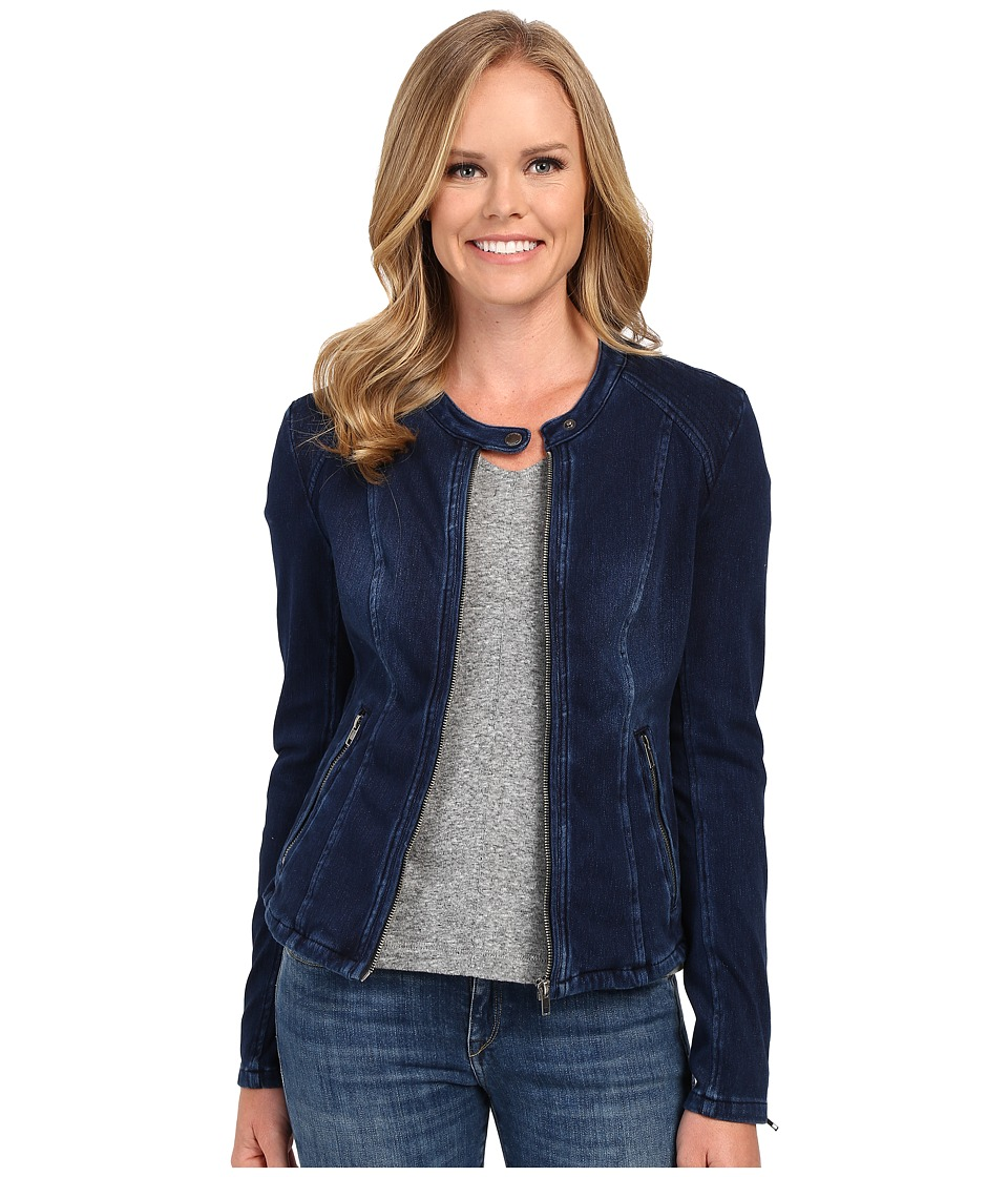 Liverpool - Zip Front Powerflex Knit Denim Stretch Moto Jacket (Dark Americana) Women's Coat