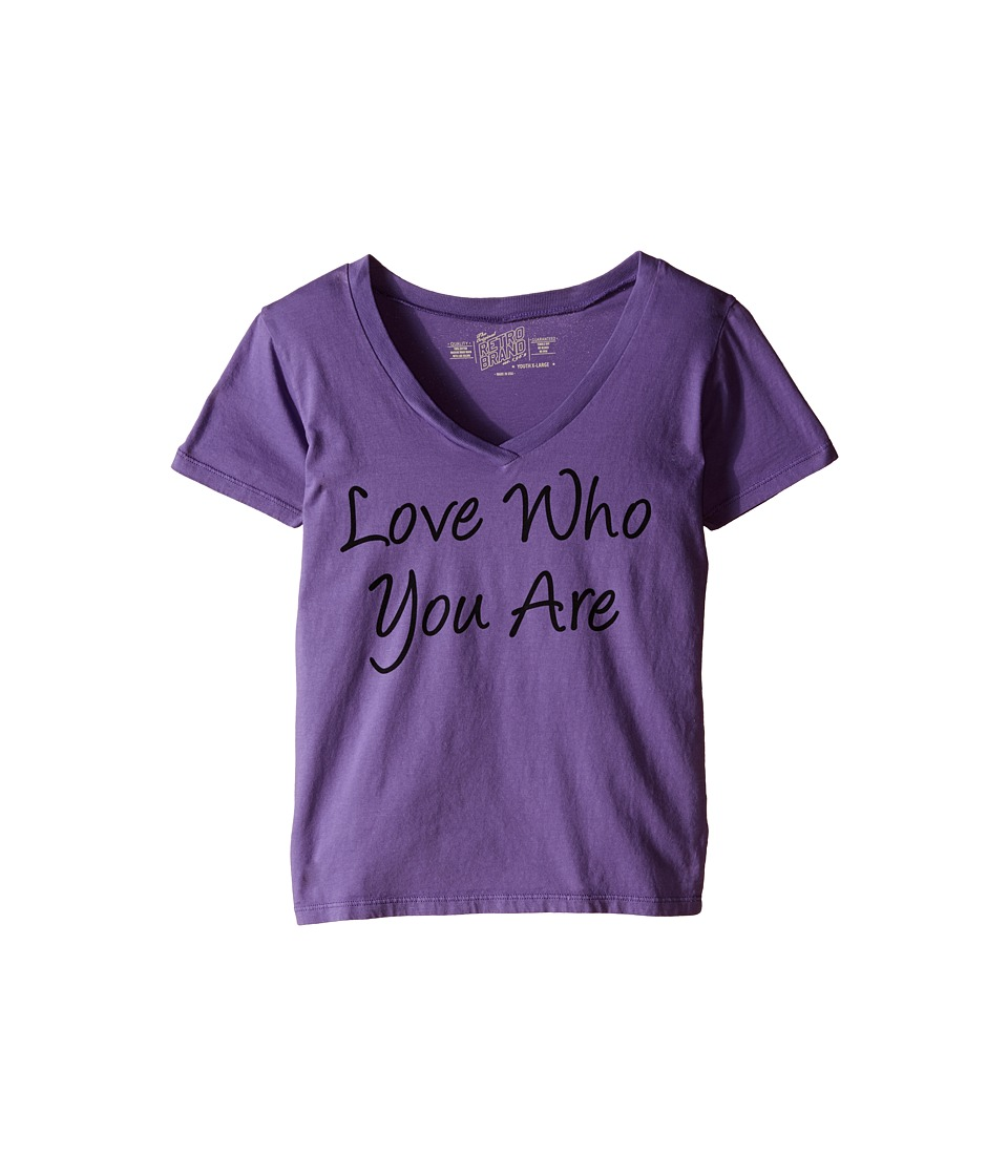 The Original Retro Brand Kids - Love Who You Are V-Neck Tee (Little Kids/Big Kids) (Grape) Girl's Short Sleeve Pullover