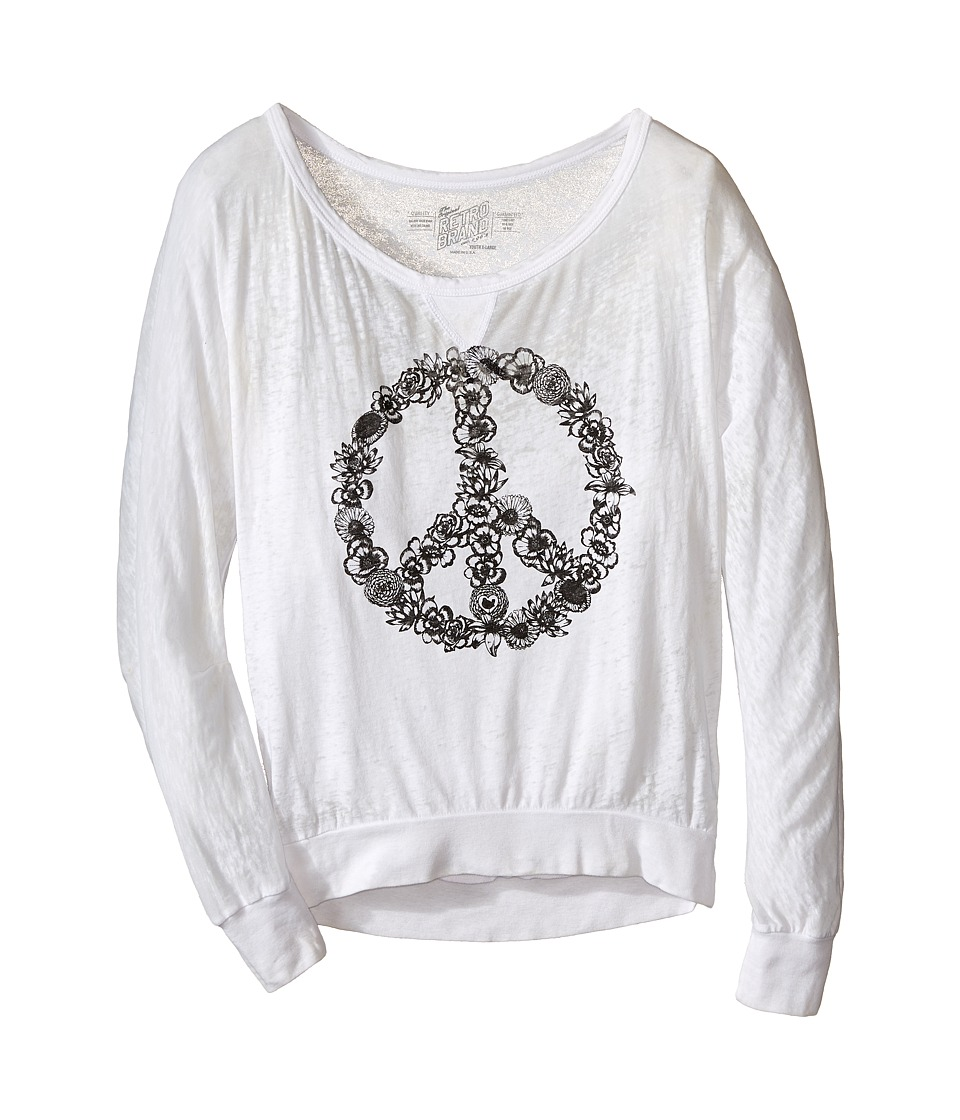 The Original Retro Brand Kids - Burnout Pullover w/ Floral Peace Sign (Little Kids/Big Kids) (White) Girl's Long Sleeve Pullover