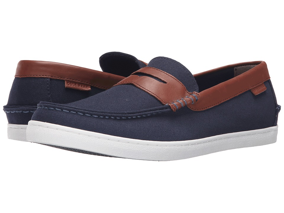 Cole Haan - Nantucket Loafer (Blazer Blue Textile/Chestnut Leather) Men