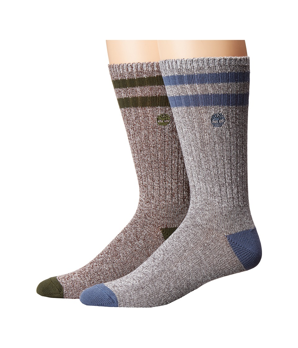 Timberland - Marled 2-Pack Crew Socks (Vintage Indigo/Forest Night) Men's Crew Cut Socks Shoes