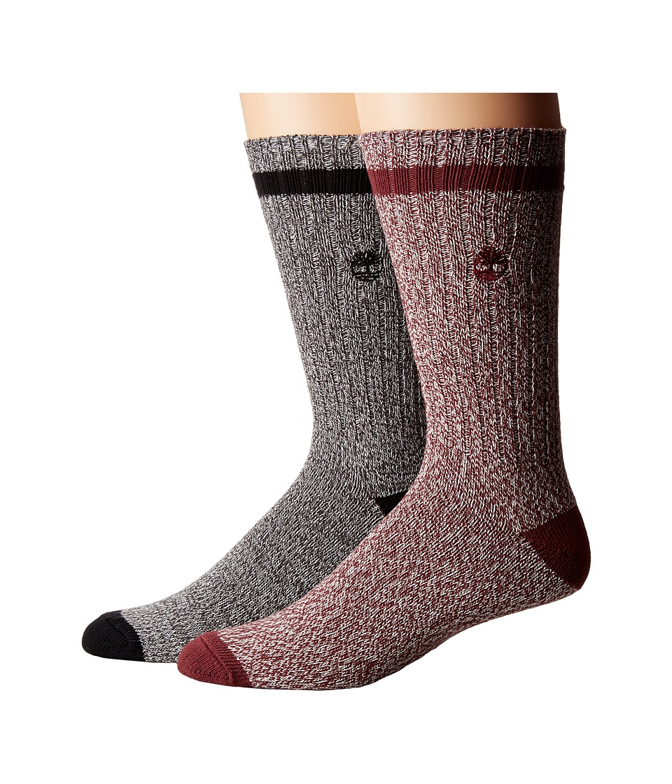 Timberland - Rugged Heritage 2-Pack Crew Socks (Grey/Port) Men's Crew Cut Socks Shoes