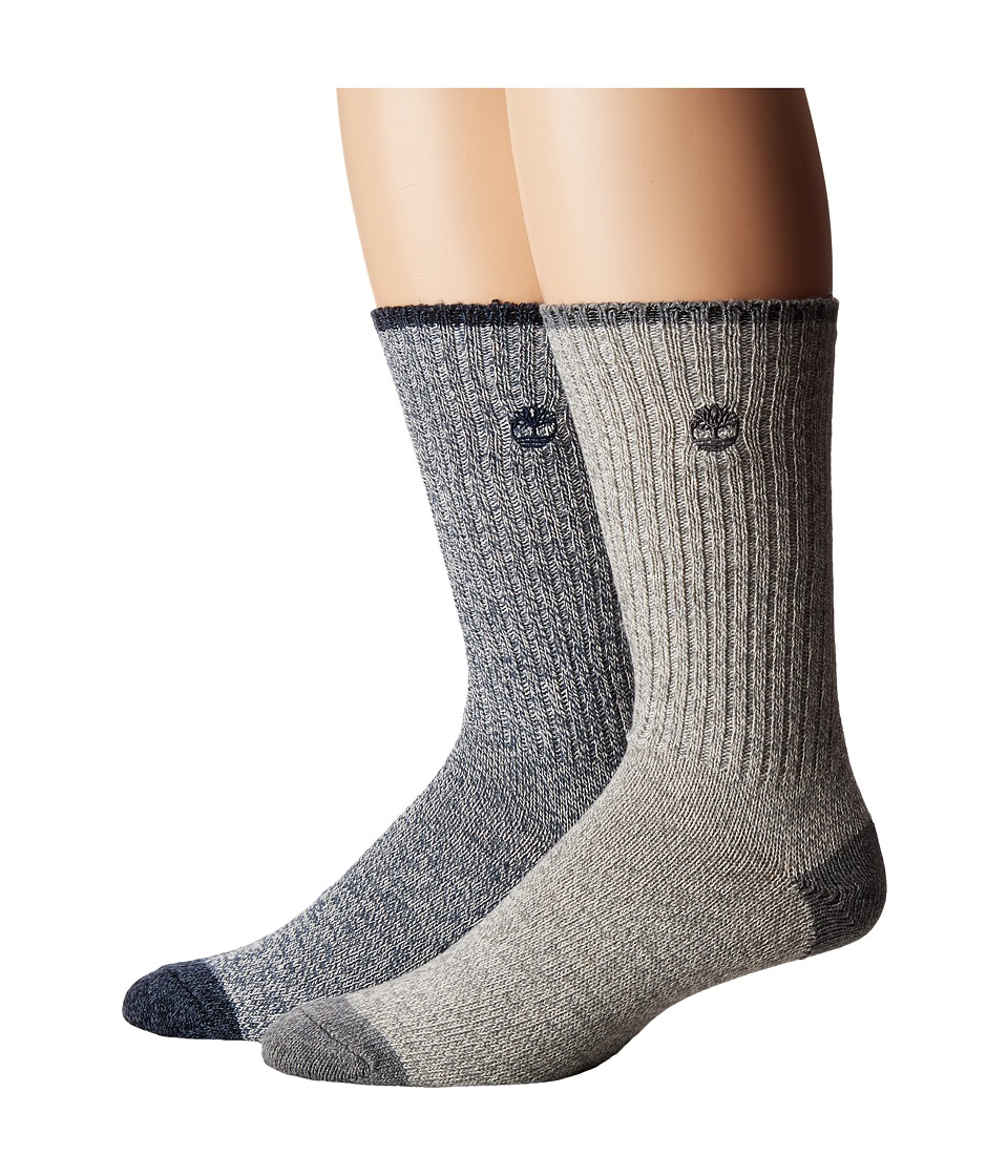 Timberland - Marled 2-Pack Crew Socks (Navy/Grey) Men's Crew Cut Socks Shoes