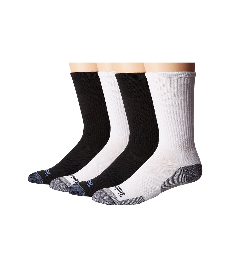 Timberland - Comfort 4-Pack Crew Socks (Black/Black/White/White) Men's Crew Cut Socks Shoes