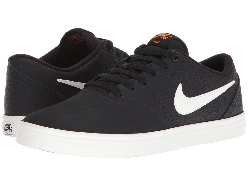 Nike SB - Check Solar Premium (Black/Ivory/Clay Orange) Men's Skate Shoes