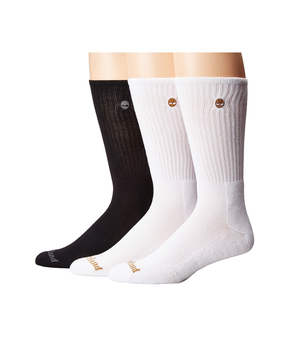 Timberland - Classic 3-Pack Boot Crew Socks (White/White/Black) Men's Crew Cut Socks Shoes