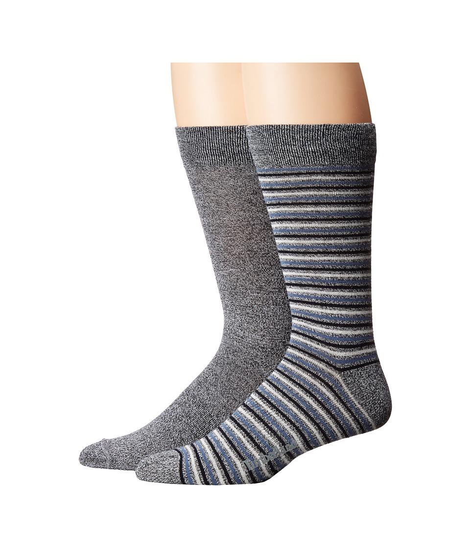 Timberland - Marled 2-Pack Pattern Crew Socks (Black) Men's Crew Cut Socks Shoes