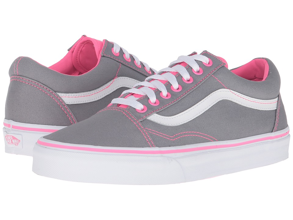 Vans - Old Skool ((Canvas) Frost Grey/Neon Pink Pop) Skate Shoes