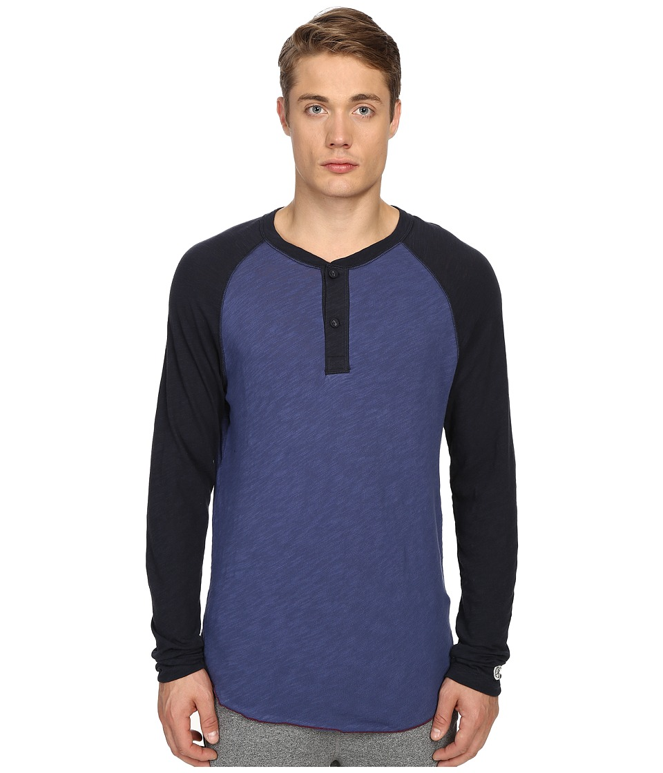 Todd Snyder + Champion - Color Block Henley (Washed Royal) Men's Long Sleeve Pullover