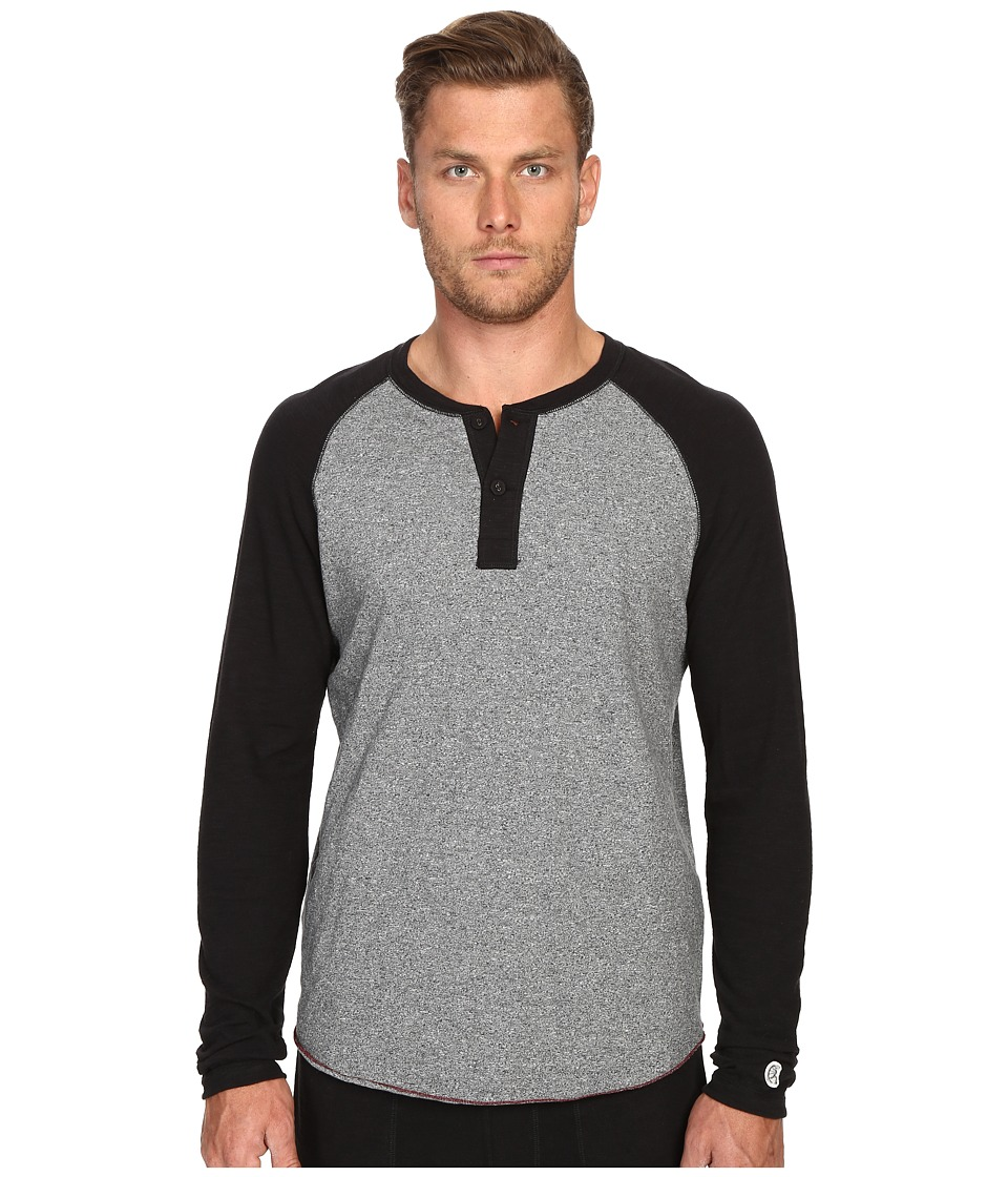 Todd Snyder + Champion - Color Block Henley (Salt/Pepper) Men's Long Sleeve Pullover