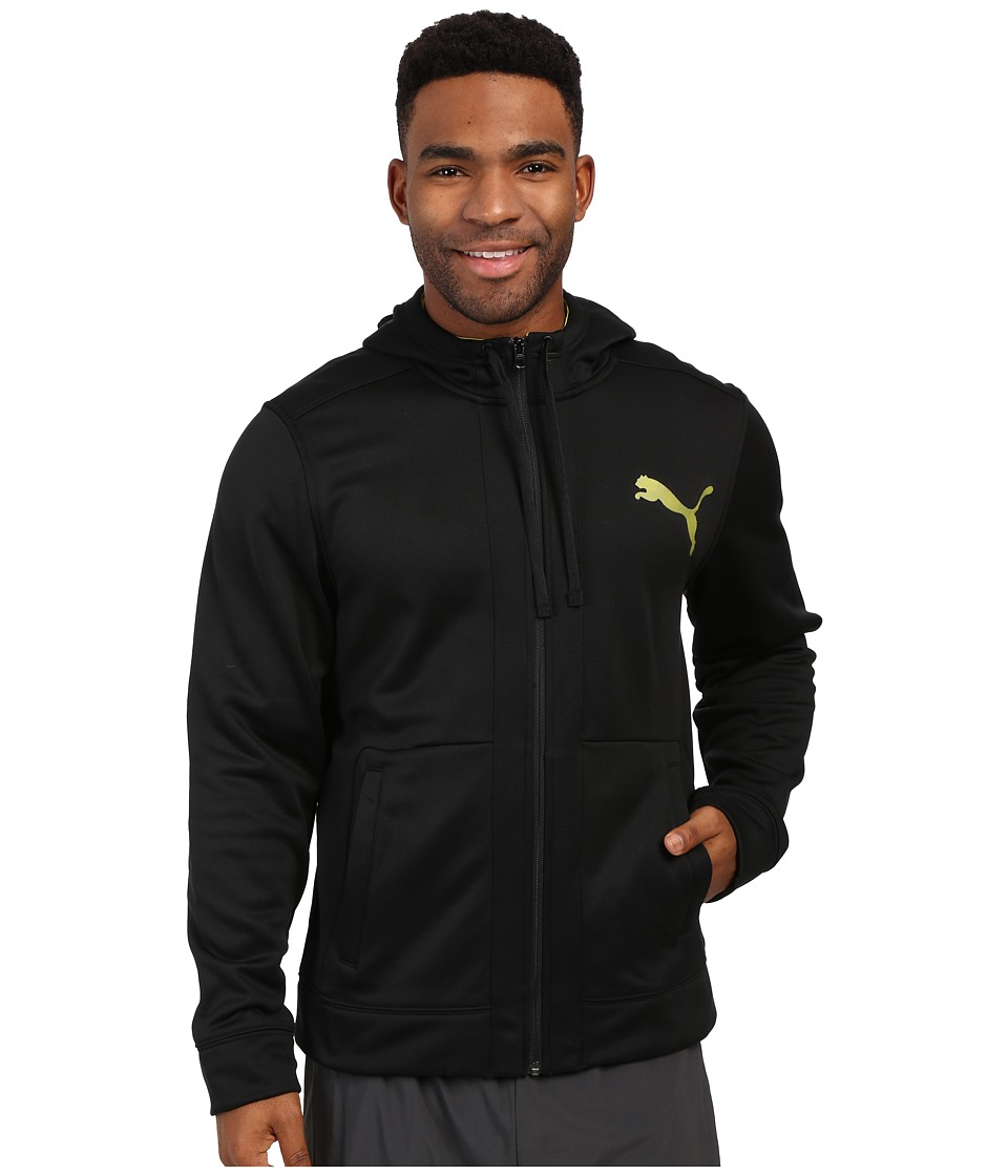 PUMA - Full Zip Poly Fleece Hoodie (Black/Sulphur Spring) Men's Sweatshirt