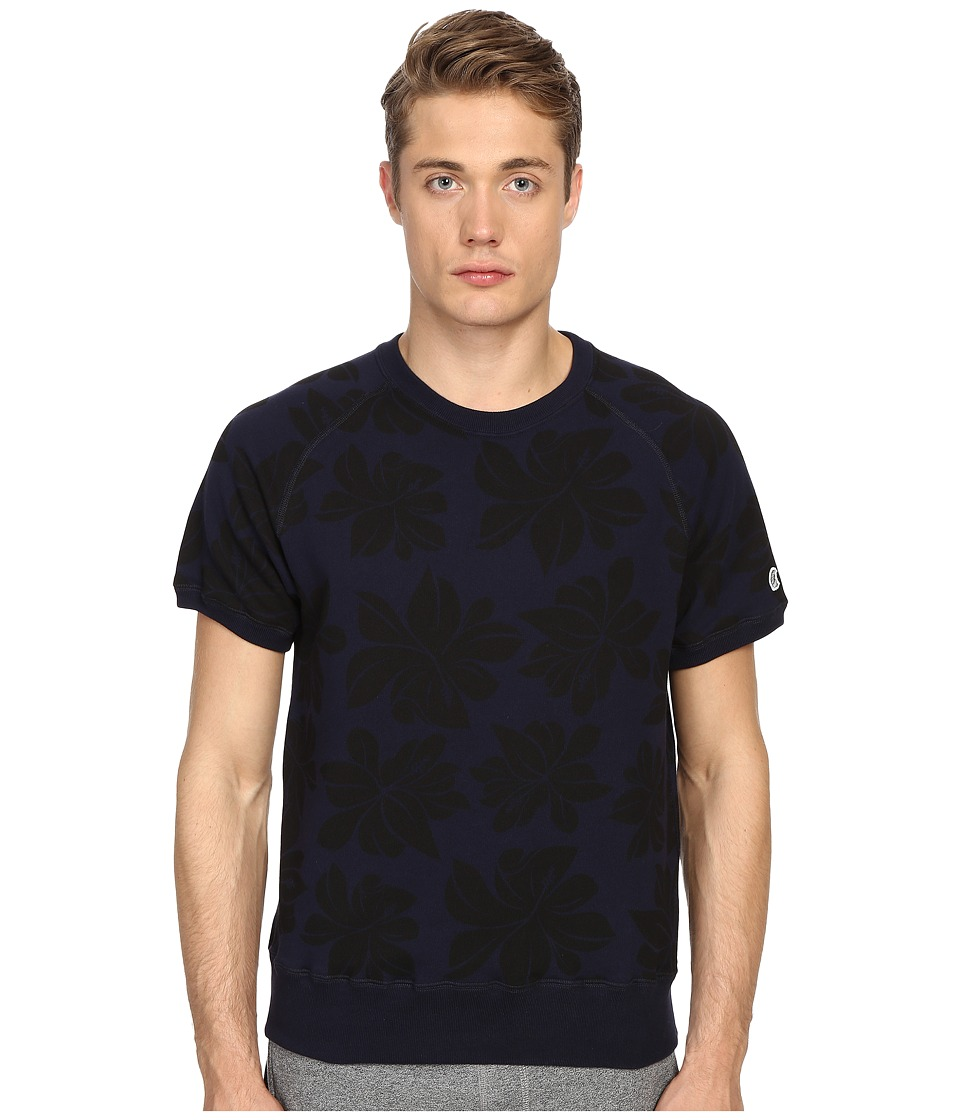 Todd Snyder + Champion - Floral Print Short Sleeve Sweatshirt (Midnight) Men's Sweatshirt