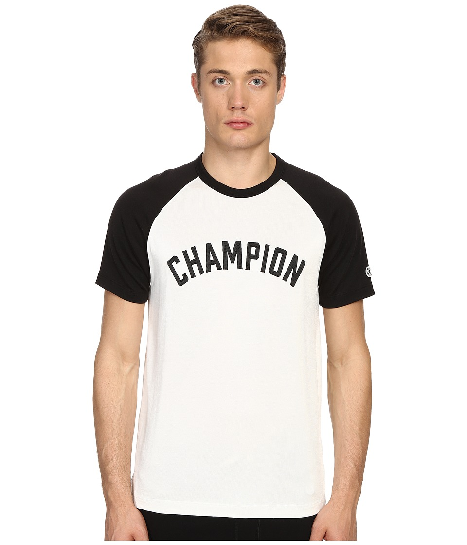 Todd Snyder + Champion - Short Sleeve Plated Raglan Shirt (Vintage White) Men's Short Sleeve Button Up