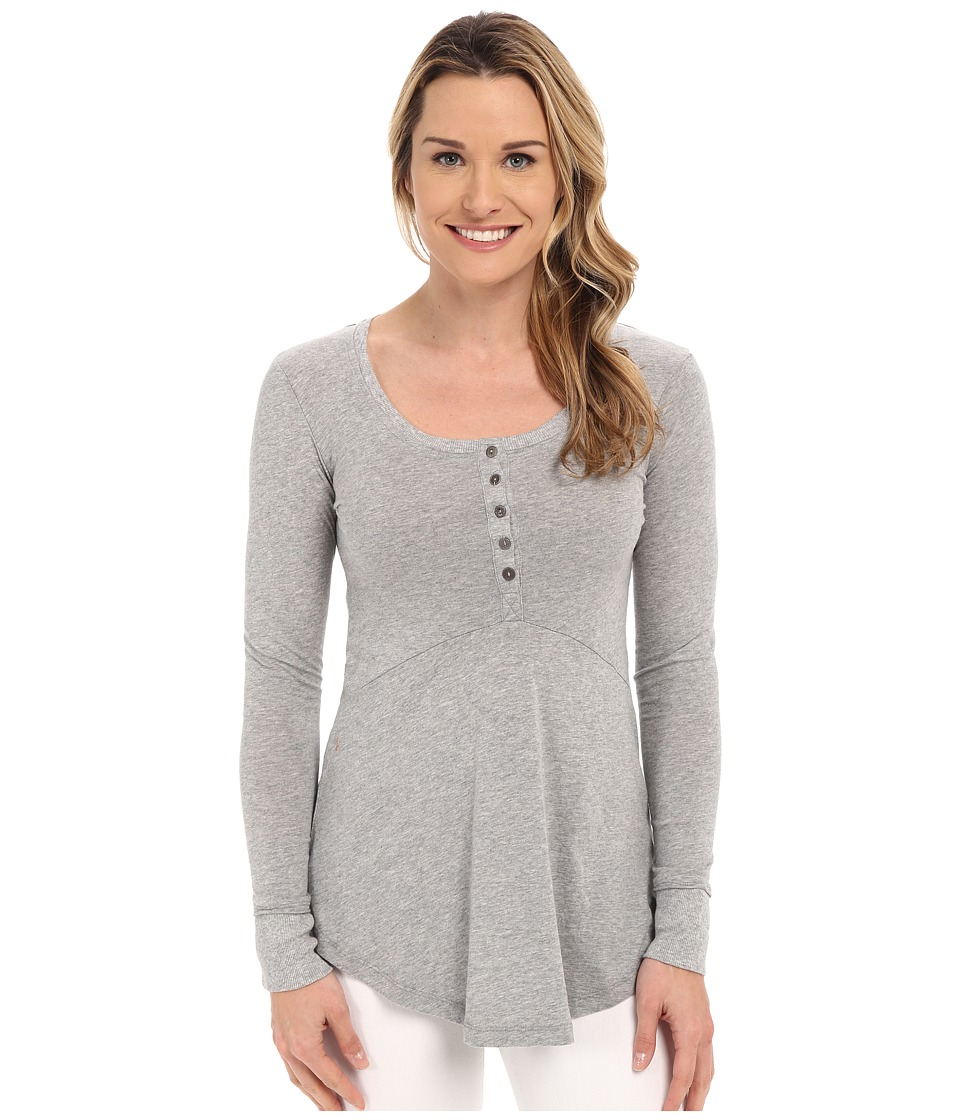 Mod-o-doc - L/S Henley Tunic (Smoke Heather) Women's Long Sleeve Pullover
