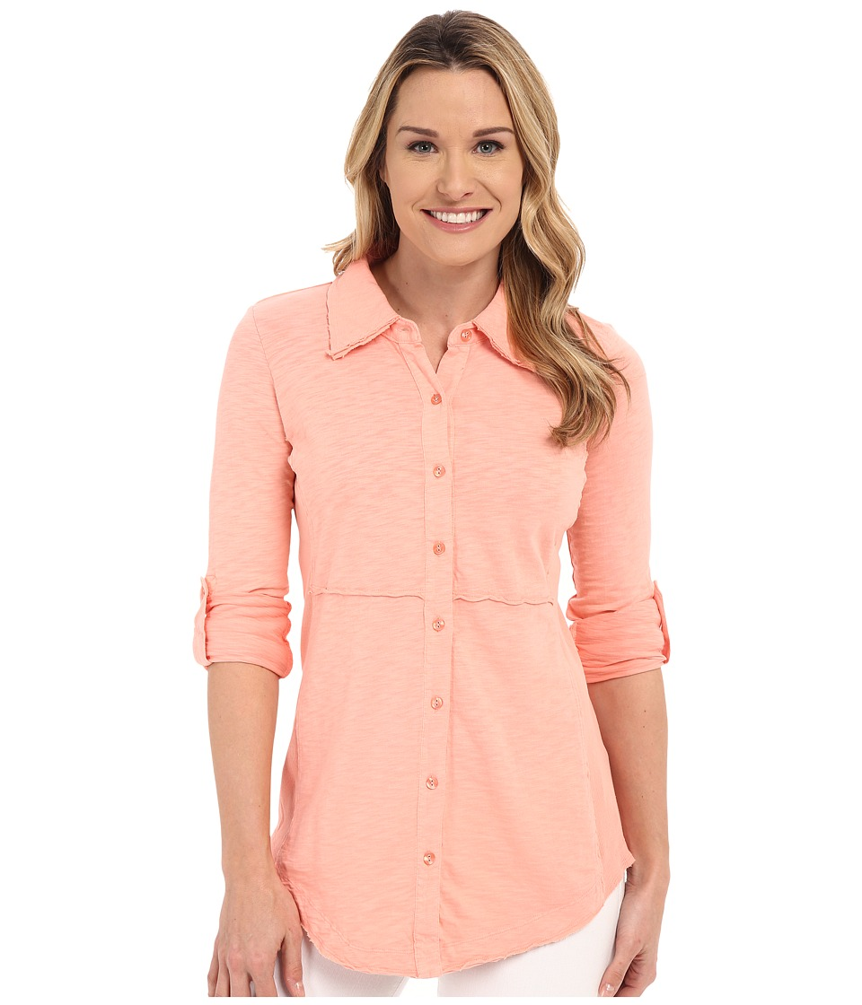 Mod-o-doc - Heavier Slub Jersey Button Front Tunic (Peachtree) Women's Blouse