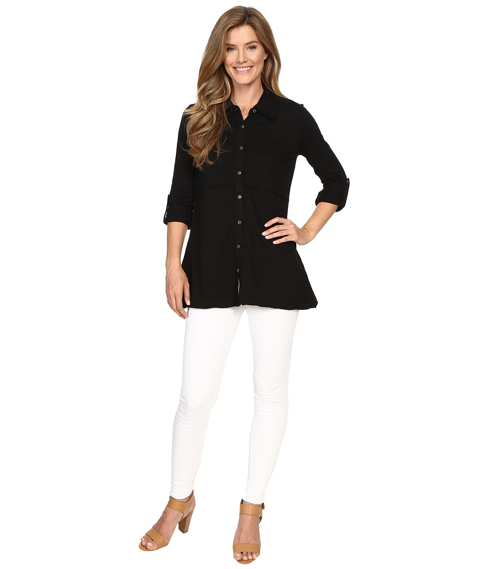 Mod-o-doc - Slub Jersey Button Front Tunic Top (Black) Women's Long Sleeve Pullover