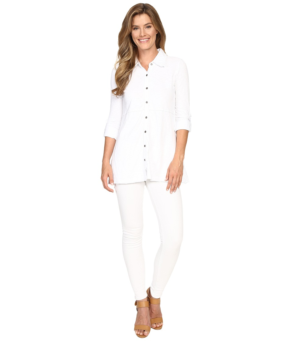 Mod-o-doc - Slub Jersey Button Front Tunic Top (White) Women's Long Sleeve Pullover