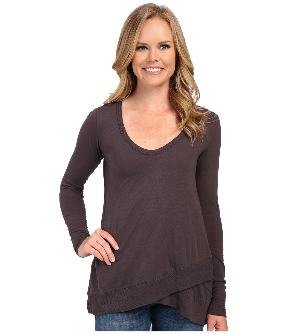 Mod-o-doc - Slub Jersey Long Sleeve Crossover Rib Hem Tee (Shadow) Women's Long Sleeve Pullover