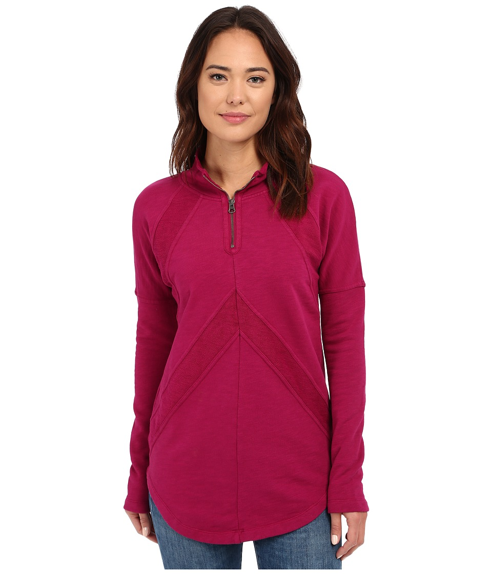 Mod-o-doc - Slub French Terry 1/4 Zip Funnel w/ Angle Contrast Panels (Vino) Women's Long Sleeve Pullover