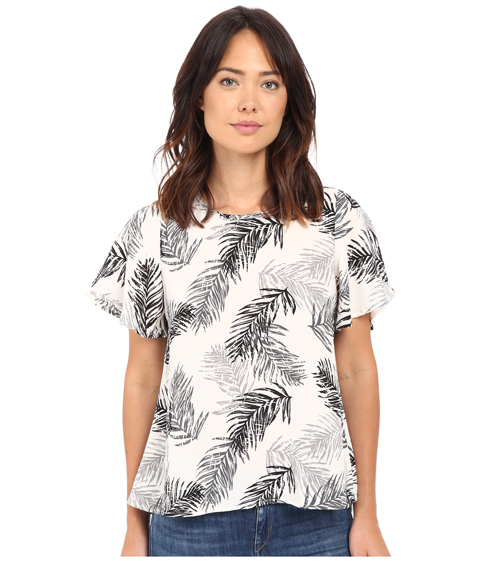 B Collection by Bobeau - Hadlee Palm Print Flutter Sleeve Woven Blouse (Black) Women's Blouse