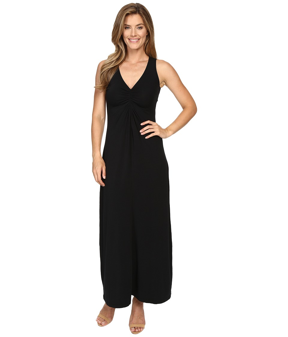 Mod-o-doc - Cotton Modal Spandex Jersey Shirred Front V-Neck Maxi Dress (Black) Women's Dress