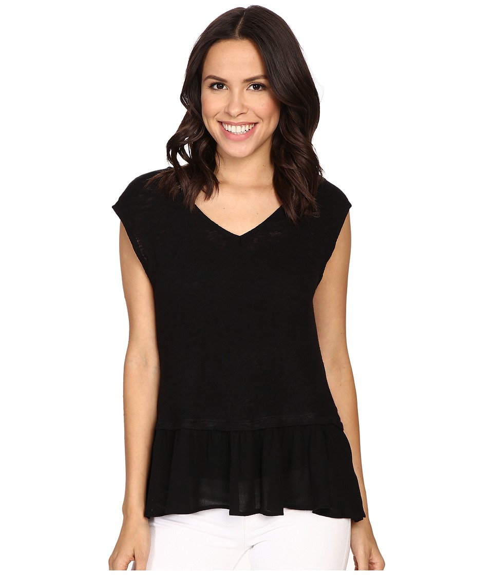 B Collection by Bobeau - Kati Knit To Woven Layer Top (Black) Women's Short Sleeve Pullover