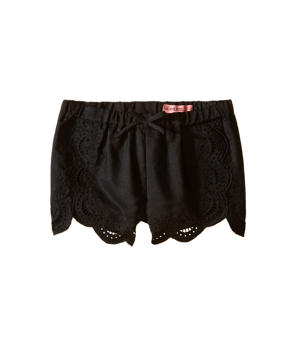 Blank NYC Kids - Eyelet Elastic Shorts in Black (Big Kids) (Black) Girl's Shorts