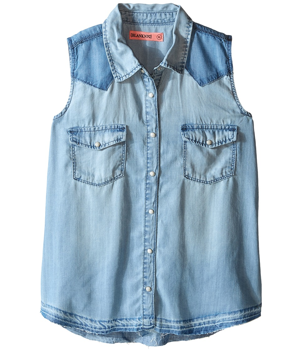 Blank NYC Kids - Sleeveless Denim Shirt (Little Kids/Big Kids) (Blue) Girl's Sleeveless