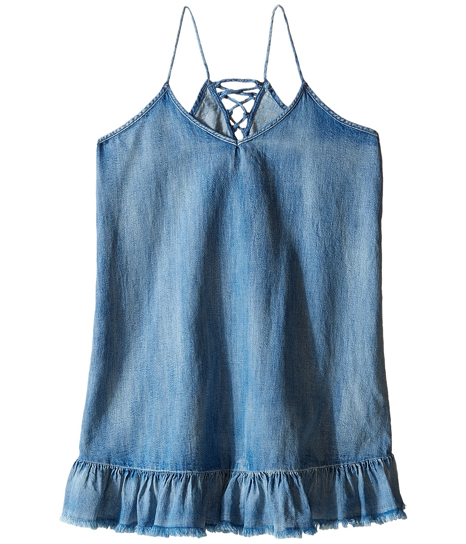 Blank NYC Kids - Ruffle Denim Dress (Little Kids/Big Kids) (Blue) Girl's Dress