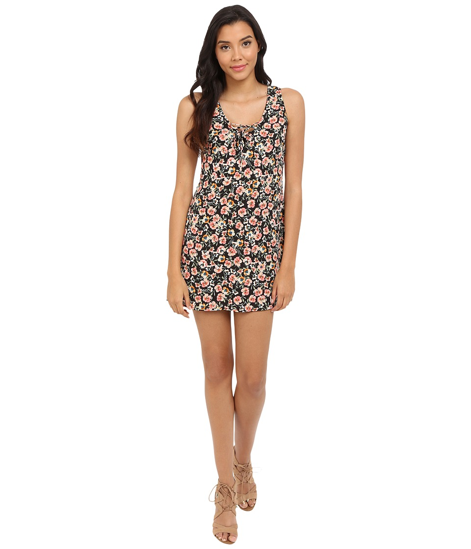 Brigitte Bailey - Sleeveless Floral Print Dress (Black/Peach) Women's Dress