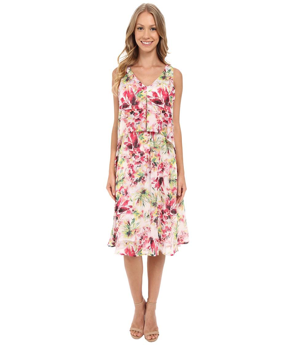B Collection by Bobeau Chelsea Layer Dress (Tropical Print) Women
