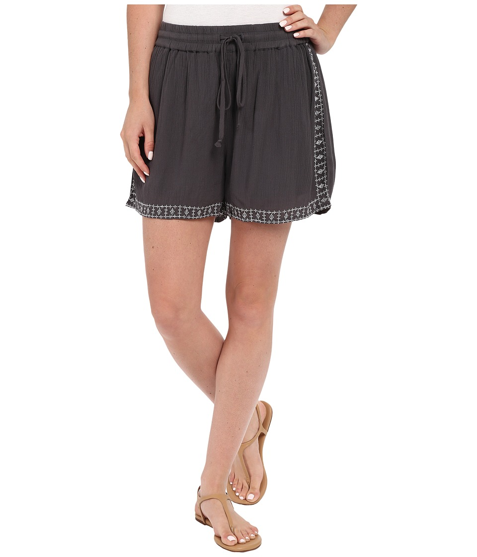 B Collection by Bobeau - Rosie Embroidered Shorts (Charcoal Grey) Women's Shorts