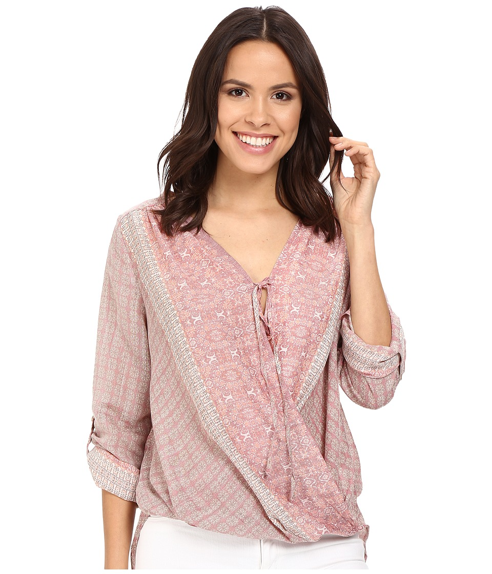 B Collection by Bobeau - Remi Long Sleeve Surplice w/ Tie (Moroccan Print) Women's Long Sleeve Pullover