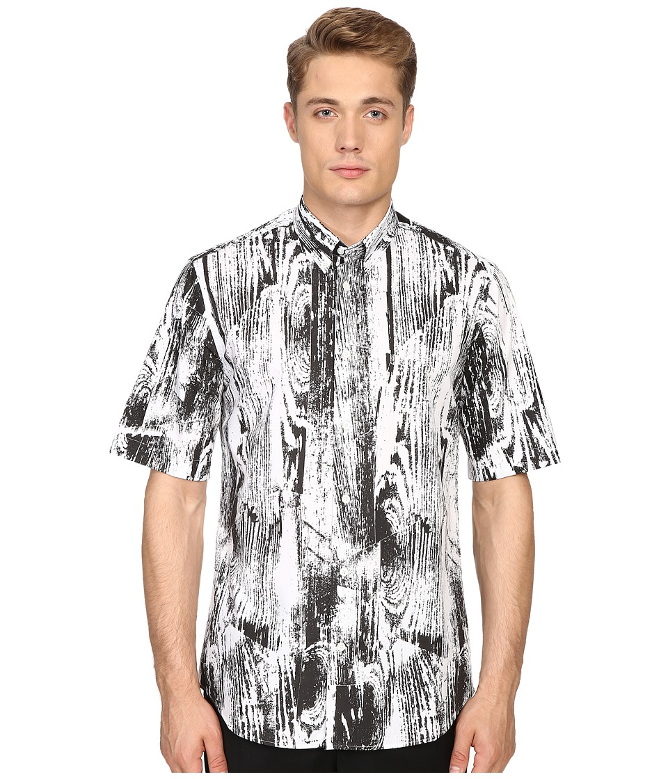 McQ - Short Sleeve Shields (Dark Black Woodgrain) Men's Short Sleeve Button Up