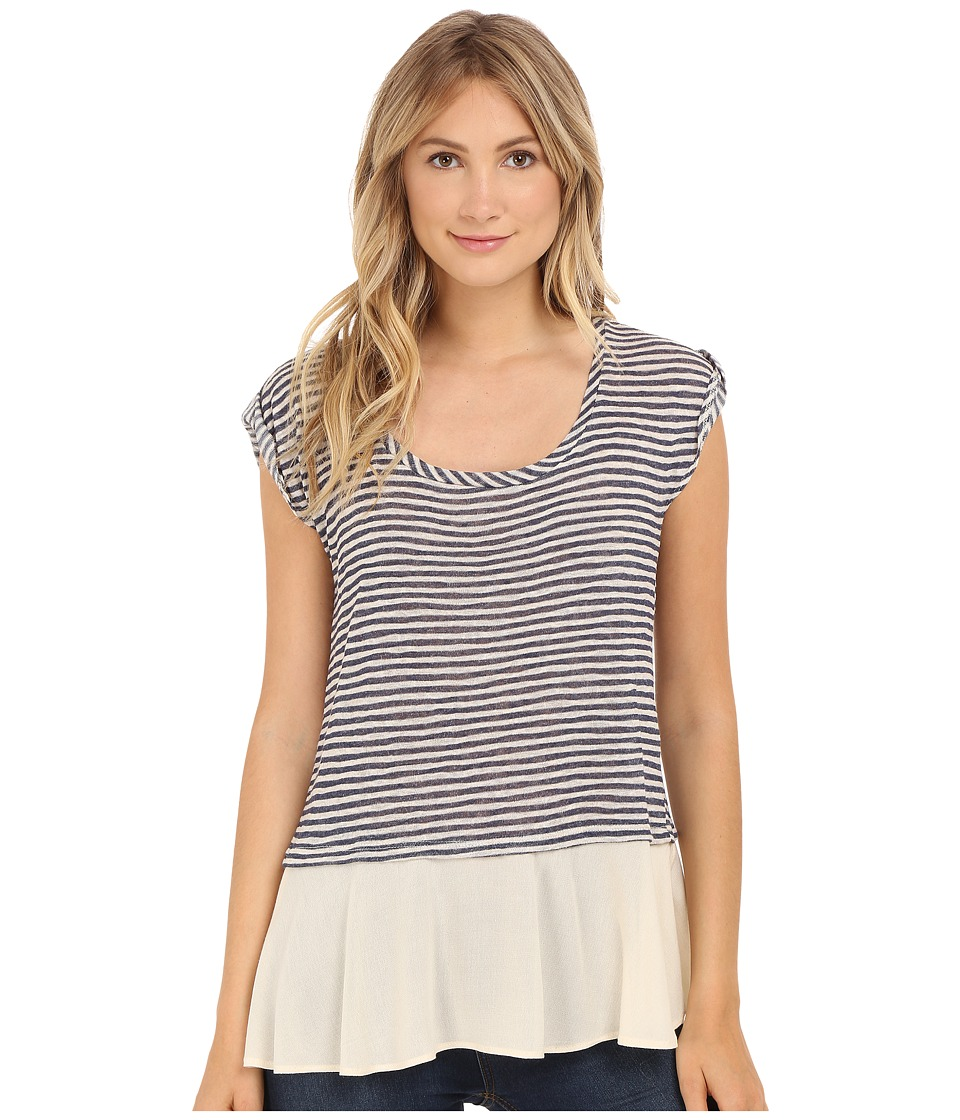 B Collection by Bobeau - Oriana Stripe Mix Media T-Shirt (Navy Stripe) Women's T Shirt