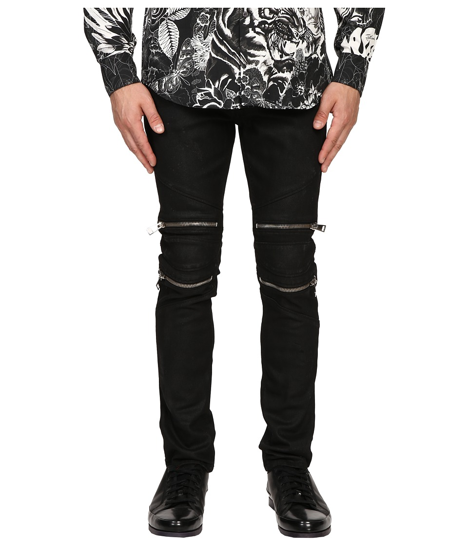 Just Cavalli - Skin Effect and Spot Moto Denim (Black Denim) Men's Jeans